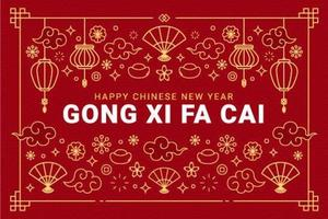 gong xi fa cai salutation avec des ornements décoratifs vecteur