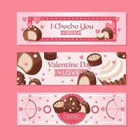 chocolat valentine avec bannière coeur rose vecteur