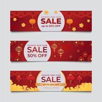 ensemble de bannière de réduction de vente nouvel an chinois vecteur