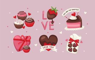 autocollant d'amour de chocolat sucré vecteur