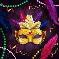 masque de carnaval doré mardi gras et concept de perles