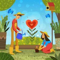 date romantique de la saint valentin dans le jardin vecteur