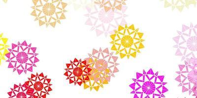 fond de flocons de neige lumineux vecteur multicolore avec des fleurs.