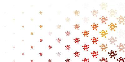 fond de vecteur orange clair avec symboles covid-19.