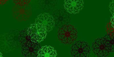disposition naturelle de vecteur vert clair, rouge avec des fleurs.
