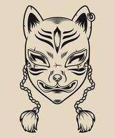 illustration en noir et blanc d'un masque de renard japonais vecteur