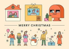 joyeux noël cadeaux scènes et personnes vecteur