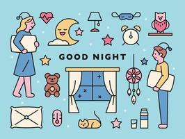 bonne nuit, personnage et icônes vecteur