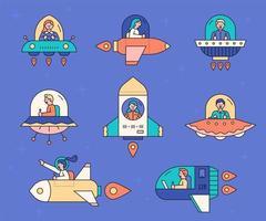 jeu d'icônes de vaisseau spatial vecteur