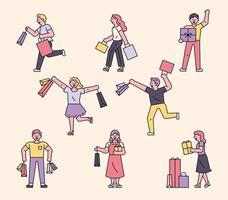 personnages de gens shopping