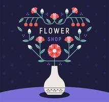 affiche de magasin de fleurs.