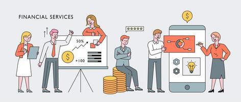 bannière de concept de caractère de professionnels de la finance. vecteur