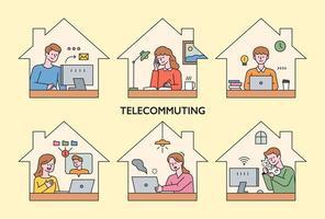les gens travaillent à domicile par télécom.
