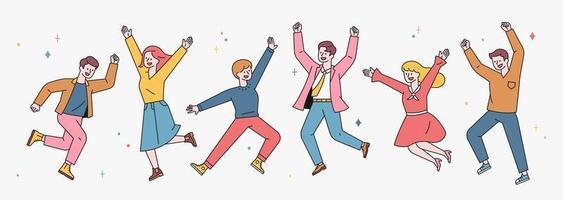 les gens sautent avec des expressions joyeuses.