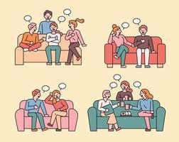des amis sont assis sur le canapé et discutent.