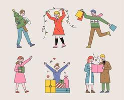 personnages de Noël et de personnes. vecteur