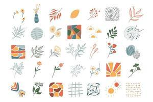 grand ensemble d'éléments floraux et forme abstraite de doodle pour la collection d'arrière-plan vecteur