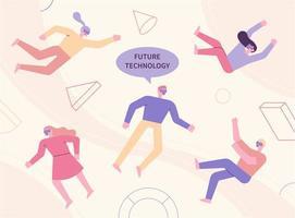 les gens qui font l'expérience de la technologie future.