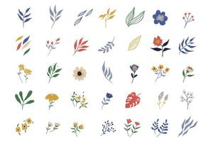 collection d'éléments de fleurs et de feuilles avec des fleurs sauvages