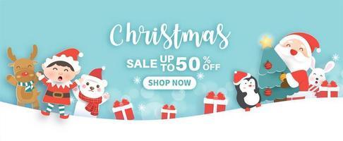 bannière de vente de Noël vecteur
