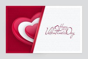 papier découpé carte de saint valentin avec forme de coeur de perle vecteur