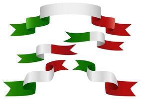 ensemble de ruban drapeau italie vecteur