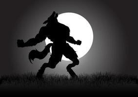 silhouette de loup-garou hurlant vecteur