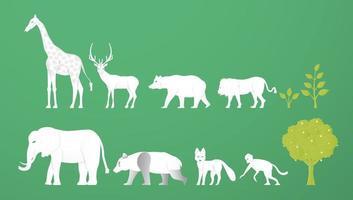 animaux sauvages. le minimalisme digne du papier découpé et du style artisanal. artisanat numérique d'art pour la journée mondiale de l'environnement.
