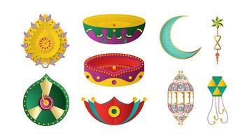 éléments de décoration du festival de diwali pour fond d'invitation, bannière web, publicité. Conception d'illustration vectorielle 3D en papier découpé et style artisanal. vecteur