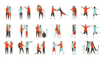 conception des personnages d'amoureux isolés sur fond blanc. éléments plats pour la saison d'hiver. Ensemble de 18 humains. vecteur
