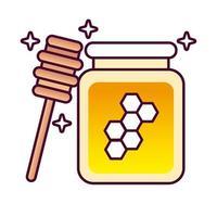 pot de miel sucré et cuillère en bois icône de style détaillé