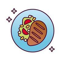icône de style détaillé de délicieux steak de viande vecteur