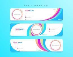 modèles de signature d'e-mail pleins de couleurs vecteur
