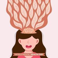 affiche de la journée mondiale de la santé mentale dessinée à la main