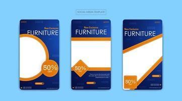 modèle de médias sociaux pour les entreprises de meubles vecteur