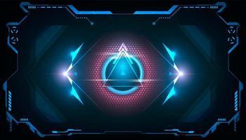 triangle futuriste abstrait hud avec lumière bleue et rose brillante vecteur