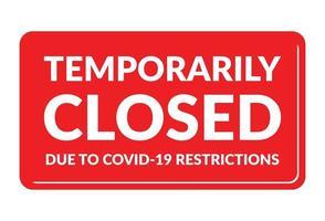 temporairement fermé en raison de la restriction de covid 19 vecteur