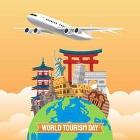 illustration dessinée à la main du concept de la journée mondiale du tourisme. illustration vectorielle vecteur