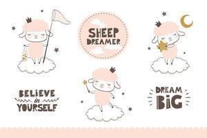 jolie petite collection de personnages de princesse de moutons de bébé. illustration vectorielle de surface dessiné à la main. vecteur