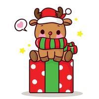 vecteur de renne mignon avec cadeau