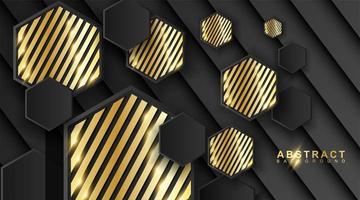 fond géométrique abstrait. Illustration vectorielle 3D. triangle ou forme de pyramide noire. hexagones avec un motif à rayures dorées. vecteur
