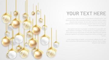 boule de vecteur perle dorée et argentée. fond avec un espace vide pour votre texte