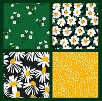 motifs floraux abstraits sans soudure à la camomille. textures dessinées à la main à la mode. conception abstraite moderne vecteur