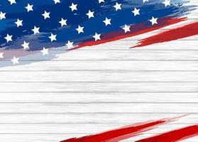 Pinceau drapeau usa sur bois blanc