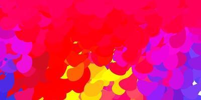 toile de fond de vecteur rouge et jaune clair avec des formes chaotiques.