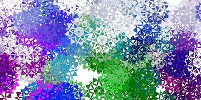 modèle vectoriel multicolore léger avec des flocons de neige de glace.
