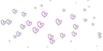 texture vecteur violet clair avec de beaux coeurs.