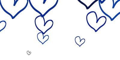 texture de vecteur bleu clair avec de beaux coeurs.