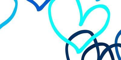 toile de fond de vecteur bleu clair avec des coeurs doux.