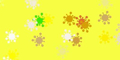 toile de fond de vecteur vert clair, jaune avec symboles de virus
